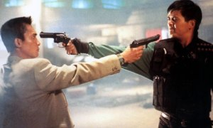"""Tequila"" (Chow Yun-fat) squares off against Tony (Tony Leung Chiu-Wai)"