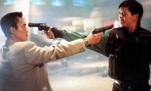 """Tequila"" (Chow Yun-fat) squares off against Tony (Tony Leung Chiu-Wai)"