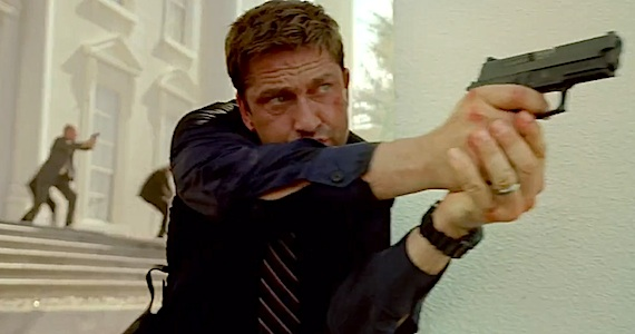 The invincible Gerard Butler massacres some generic terrorists with a handgun.