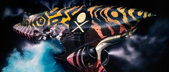 Pirate vessel concept art by Chris Foss.