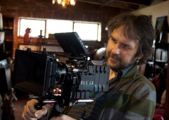 Peter Jackson with one of the many Red Epic cameras used to film The Hobbit trilogy.