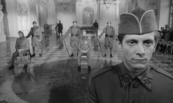 future Overlook Hotel bartender Joe Turkel on trial.